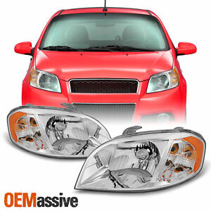 Fit 2007 2008 2009 2010 2011 Chevy Aveo 4 Door Sedan Front Lamp Headlights