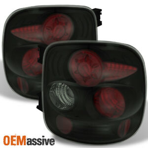 black Smoked Fits 1999 2004 Silverado Sierra Stepside Tail Lights Replacement