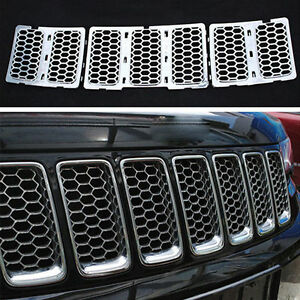 7x Front Grill Honeycomb Matte Grille Kit For 2014 2016 Jeep Grand Cherokee Ya