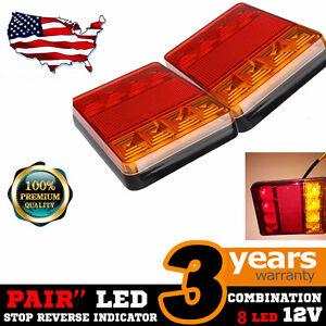 Led Submersible Tail Brake Stop License Lights Kit Trailer Boat Rv Left