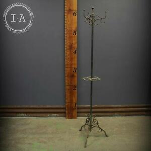 Art Nouveau Copper Japanned Cast Iron Coat And Hat Rack Hall Tree