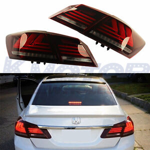 New Led Brake Tail Lights Red Clear For Honda Accord 4 Door Sedan 2013 2014 2015