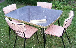Vintage Formica Table Gray Black White W Leaf 4 Vintage Chairs 1960 S Vguc
