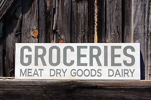 Large Primitive Rustic Wood Sign Groceries Country Pantry Distressed Kitchen
