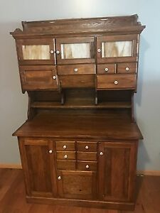 Antique Hoosier Cabinet Original Finish Glass And Fixtures
