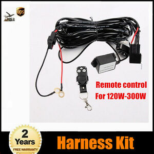 For 120w 300w Led Light Bar Remote Control Wiring Switch Relay Harness Kit 2m