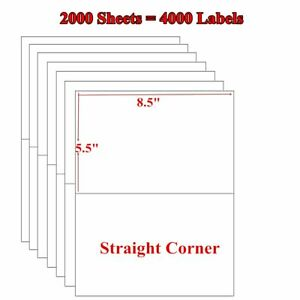 4000 Premium Half Sheet 8 5x5 5 Self Adhesive Shipping Blank Labels 2 Per Sheet