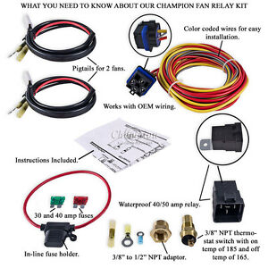 Kr Champion Cooling 180 Degree 40amp Electric Fan Relay Kit For Single Dual Fans
