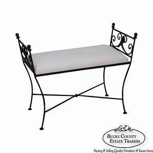 Black Iron Frame Regency Style Bench