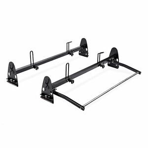 Heavy Duty 2 Bar 700lbs Van Roof Ladder Rack W Rear Cargo Roller Black Steel