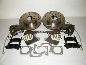 Gm 10 12 Bolt Rear Disc Brake Conversion Kit Drilled Slotted Rotors Camaro