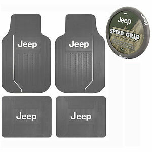 New 5pc Gray Jeep Elite Front Rear Rubber Floor Mats Steering Wheel Cover Set