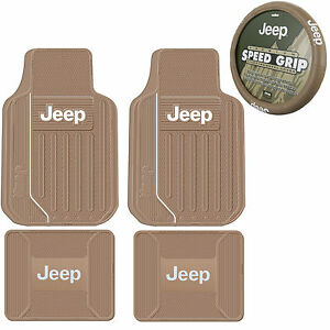 New 5pc Tan Beige Jeep Elite Front Rear Rubber Floor Mats Steering Wheel Cover