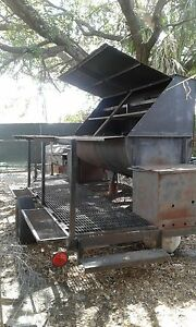 4th Of July Special Grill Barbecue smoker On A Trailer 16ft Has 2 Hot Boxes