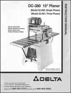 Delta Dc 380 15 Inch Planer Manual Instructions Parts