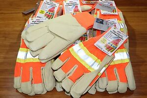 12 High Visibility Pigskin Leather Insulated Winter Work Gloves 2x large 2xl