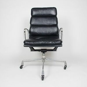 Vintage Black Eames Herman Miller High Back Soft Pad Aluminum Group Chair 1970 S