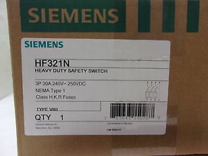 Siemens 240 Volt 30 Amp Fused Disconnect Safety Switch dis3279