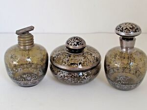 Antique Sterling Silver Overlay Perfume Bottle S And Powder 3 Pc Set