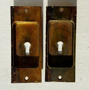 Antique 1890 S Pair Pocket Door Keyhole Insert Pulls