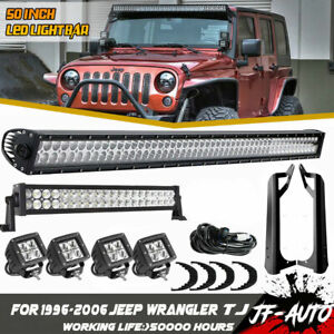 For Jeep Tj 99 06 Wrangler 50 Led Light Bar 120w Led Light Bar 4inch Light