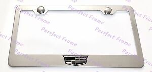 Cadillac Crest Logo Stainless Steel License Plate Frame Rust Free W Bolt Caps