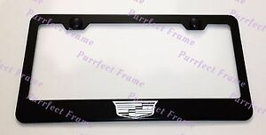 Cadillac Crest Logo Laser Style Black Stainless Steel License Plate Frame W Cap
