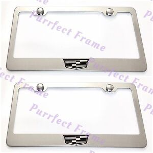 2x Cadillac Crest Logo Stainless Steel License Plate Frame Rust Free W Bolt Cap