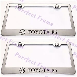 2x Toyota 86 Stainless Steel License Plate Frame Rust Free W Bolt Caps