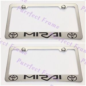 2x Toyota Mirai Stainless Steel License Plate Frame Rust Free W Bolt Caps