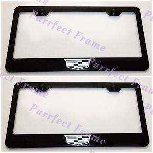 2x Cadillac Crest Logo Black Stainless Steel License Plate Frame Rust Free W Cap