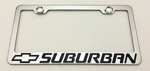 Chevrolet Chevy Suburban Stainless Steel License Plate Frame Rust Free W Caps