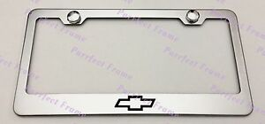 Chevrolet Chevy Bow Tie Stainless Steel License Plate Frame Rust Free W Boltcap