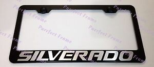 Chevrolet Silverado Laser Style Black Stainless Steel License Plate Frame W Caps