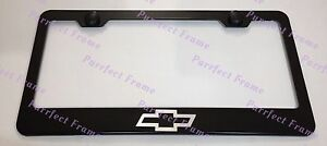 Chevrolet Bow Tie Laser Style Black Stainless Steel License Plate Frame W Caps