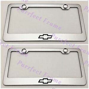 2x Chevrolet Chevy Bow Tie Stainless Steel License Plate Frame Rust Free W Caps