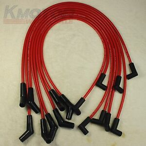 Hei Red Spiral Core Spark Plug Wires 45 Degree End For 396 427 454 502 Bbc Chevy