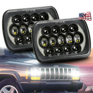 Brightest 2pc 5x7 7x6 Led Headlights Halo Drl For Jeep Wrangler Yj Cherokee Xj
