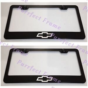 2x Chevrolet Chevy Bow Tie Black Stainless Steel License Plate Frame W Cap