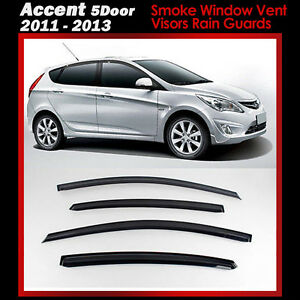 New Smoke Window Vent Visors Rain Guards For Hyundai Accent 5door 2011 2013