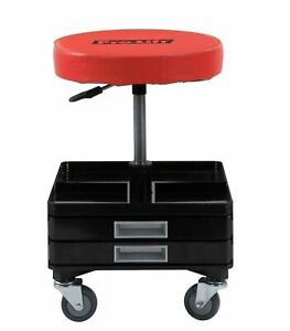 Red Pneumatic Shop Seat Adjustable Garage Stool Work Chair Mechanic Tool Tray