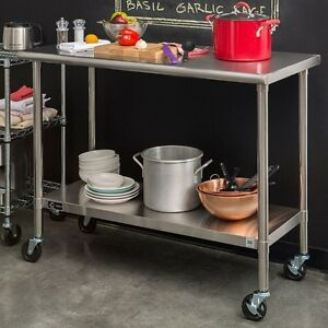 Trinity Ecostorage 48 In Nsf Stainless Steel Kitchen Prep Table With Wheels