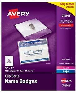 Avery Top loading Garment friendly Clip Style Name Badges 3 X 4 Box Of 100