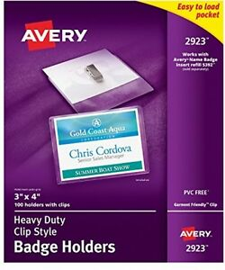 Avery Clear Heavy duty Clip Style Landscape Badge Holders 3 X 4 Box Of 100