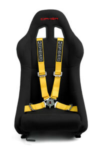 Cipher Auto Racing Harness Set yellow 4 Point 2 W Camlock Quick Release Pair