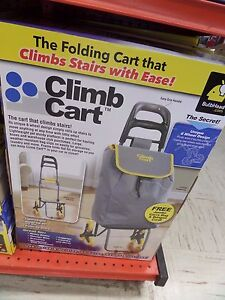 Telebrands Climb Cart Shopping Cart Dolly Climbs Stairs With Ease W Jumbo Bag