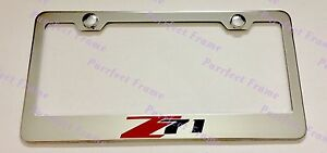 Chevrolet Z71 Silverado Stainless Steel License Plate Frame Rust Free W Caps