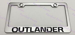 Outlander Mitsubishi Stainless Steel License Plate Frame Rust Free W Caps