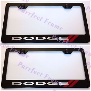 2x Dodge Charger Challenger Black Stainless Steel License Plate Frame W Cap
