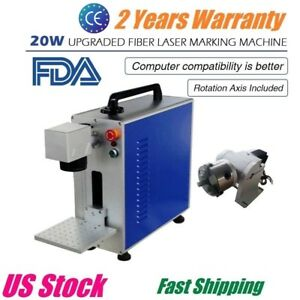 Us Upgrade Portable 20w Fiber Laser Marking And Engraving Machine Ratory Axis
